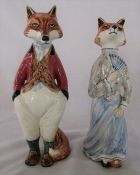Pair of Cinque Ports Pottery The Monastery figurines - 'Sir Freddie Fox' and 'Felicity Fox' H 24 cm