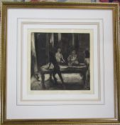 Framed David Carr (1944-2009) 1960's artists proof etching of an art school scene entitled 'Life