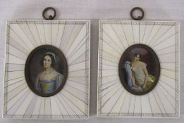 Reproduction portrait miniatures of Helene Sedlmayr and Lady Jane Erskine in ivory effect frames,