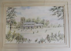 Framed watercolour depicting a Lincolnshire church by local artist Ash Buckingham 64cm x 47cm