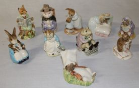 10 Royal Albert Beatrix Potter figurines (with boxes) Benjamin wakes up, Peter in bed, Mrs Rabbit