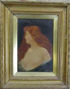 Gilt framed oil on canvas of a young woman, signed lower right corner (damage to canvas) 37 cm x