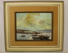 Portuguese oil on board depicting harbour scene signed J Margarido 55cm x 47cm (size including