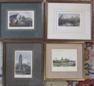 4 framed engravings - Ely Cathedral engraved by B Winkles draw by R Garland, Boston Church published