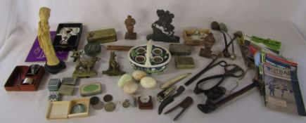 Various items inc tins, brass ware, cut throat razor, vintage football programmes, pipe, compass,