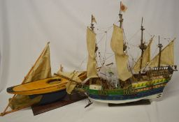 Model of a galleon & an incomplete pond yacht