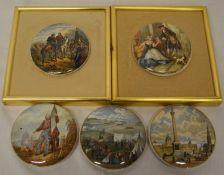 5 pot lids (2 mounted in frames)