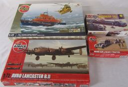 4 Airfix model kits inc RNLI Severn Class Lifeboat and RAF Westland sea king helicopter & Avro