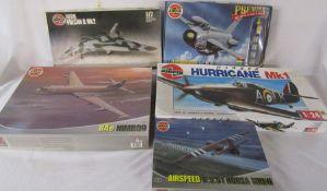 5 Airfix model kits inc Hurricane Mk1, BAe Nimrod & Avro Vulcan