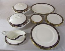 Coalport 'Blue Wheat' pattern part dinner service consisting of 2 tureens (1 af), meat plate,