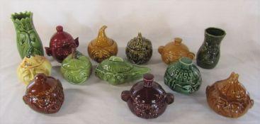 Selection of Sylvac etc lidded sauce pots inc beetroot, cucumber, chutney, marmalade etc