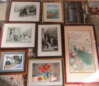 Selection of prints inc Oriental, acrylic still life and a bamboo effect mirror