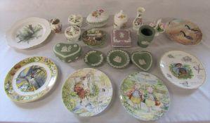 Various ceramics inc Wedgwood jasperware, Aynsley and Royal Worcester etc