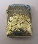 Victorian silver vesta case Birmingham 1899 weight 0.80 ozt
