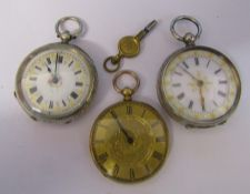 2 ladies silver fob watches (1 bears marks, 0.935) & a gold plated fob watch
