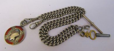 Silver double Albert watch chain, key and fob (fob Birmingham 1926) weight 1.37 ozt / 42.5 g