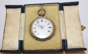 Ladies silver key wind fob watch with painted enamel dial and engraved case Birmingham 1884 in