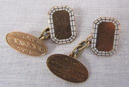 Pair of 9ct gold and enamel cufflinks Birmingham hallmark weight 5.06 g