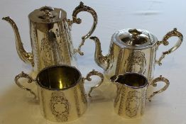 Victorian 4 piece silver plated tea service by Samuel Roberts & Charles Belk