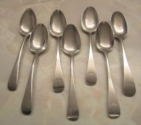 7 Georgian silver dessert spoons inc London 1800, 1832, 1811 and 1816 total weight 8.23 ozt L 17 cm