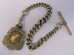 Silver watch chain and fob Birmingham 1910 and 1914 weight 1.33 ozt / 41.2 g