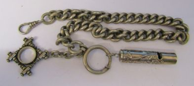 Silver watch chain, fob and whistle (whistle marked 925) total weight 4.12 ozt / 128.1 g