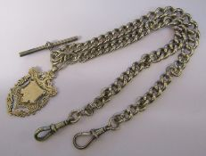 Silver double Albert watch chain and fob Birmingham 1906 and 1897 weight 2.11 ozt / 65.4 g