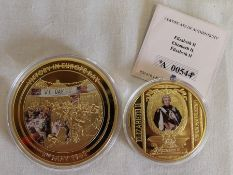 2015 VE Day London 70th Anniversary end of World War II gold plated coin capsule & 2017 Greatest