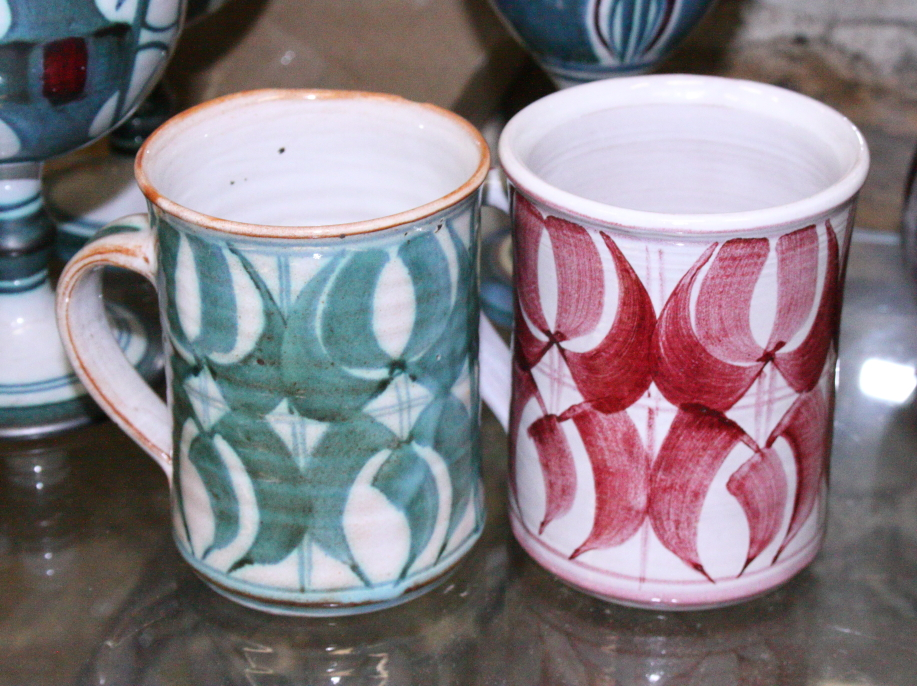 Lot 10 - A set of six Aldermaston goblets, an Alan Caiger-Smith goblet and two Aldermaston coffee cups
