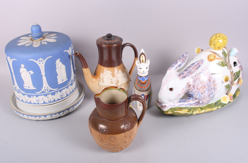 """Lot 42 - A Royal Doulton stoneware relief decorated coffee pot and smaller jug, a Royal Crown Derby """"Royal"""