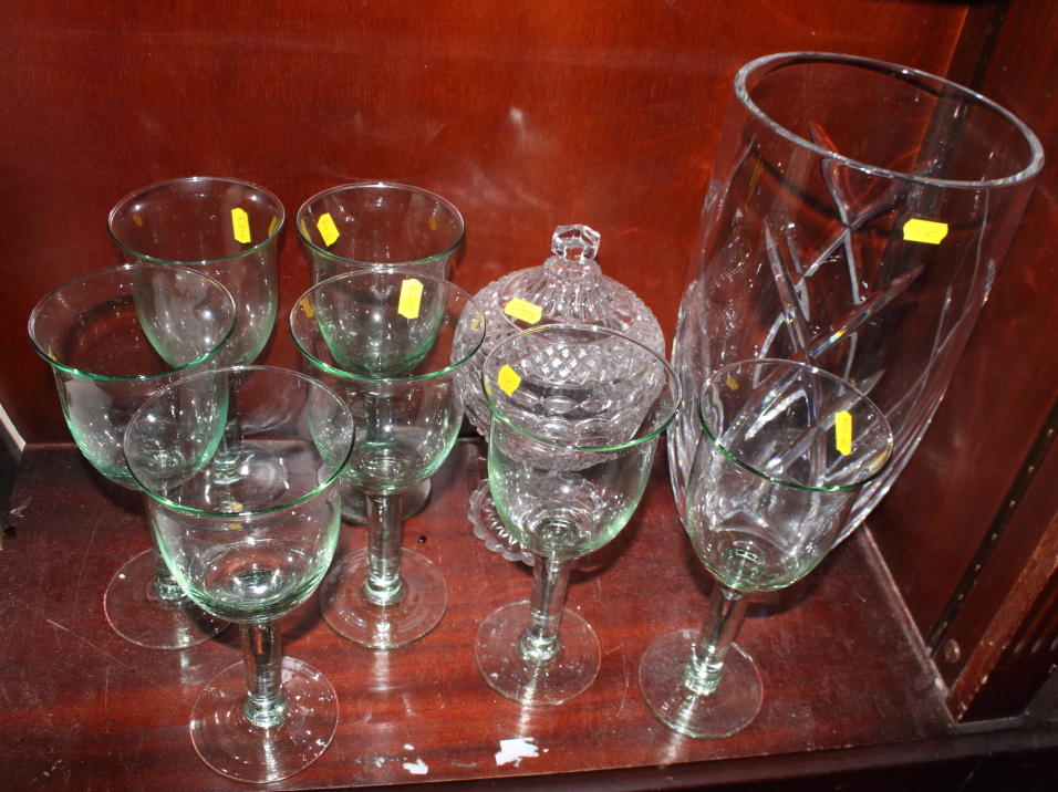 """Lot 43 - A Waterford crystal vase, by John Rocha, 13 3/4"""" high, a raised glass bowl and cover and seven green"""