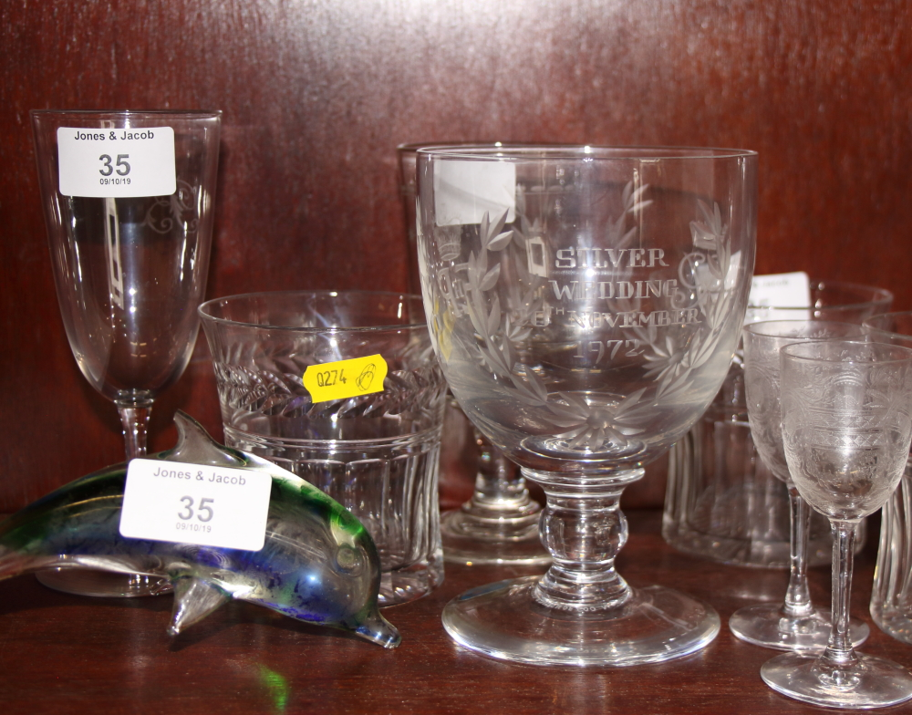 Lot 20 - A 19th century cut glass goblet, a green glass wine and other cut table glass