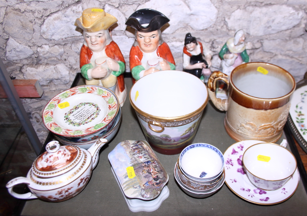 Lot 58 - Two character jugs, a quantity of Chinese tea bowls, a relief decorated tankard, two Staffordshire