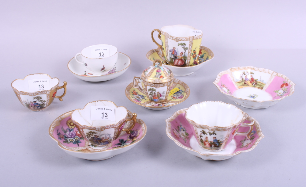 Lot 13 - A Meissen cabinet cup and saucer, decorated floral sprays, a Meissen cabinet cup, cover and
