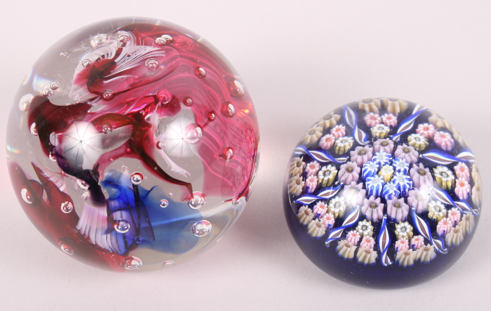 """Lot 14 - Two glass paperweights, one with """"inka"""" etched to base"""