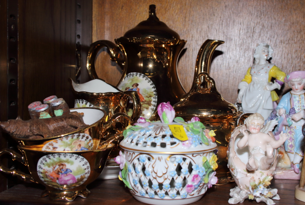 """Lot 59 - Three pairs of German porcelain figures, two Royal Doulton figures, """"Autumn Breezes"""" and """""""