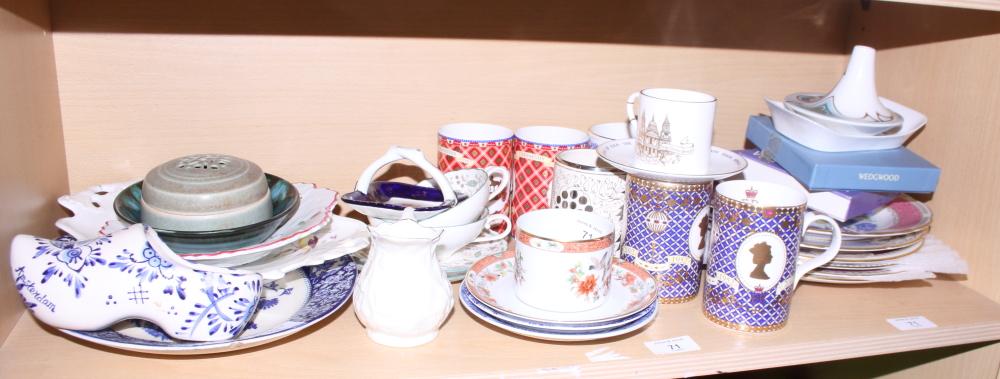 Lot 45 - Six botanical decorated plates, a Belleek jug and other decorative china