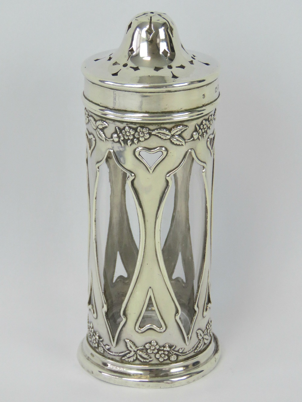 Lot 8 - A delightful Art Nouveau HM silver sugar caster complete with original clear glass liner,