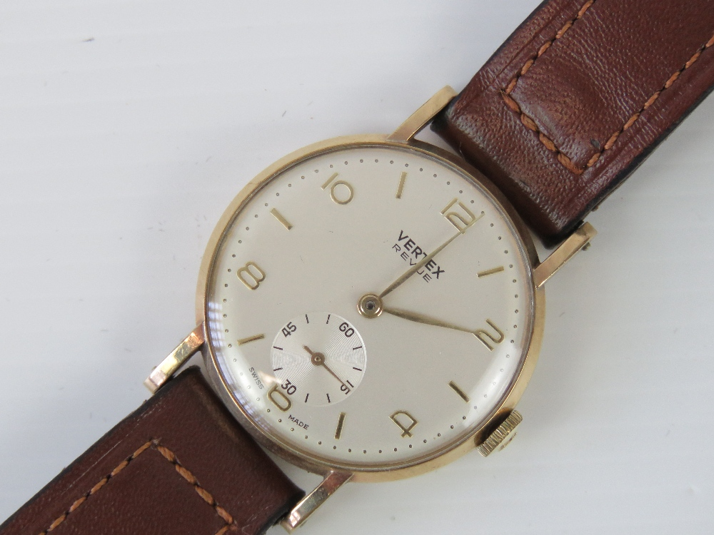 Lot 350 - A vintage 9ct gold Vertex Review wrist watch having yellow metal batons, Arabic numerals and hands,