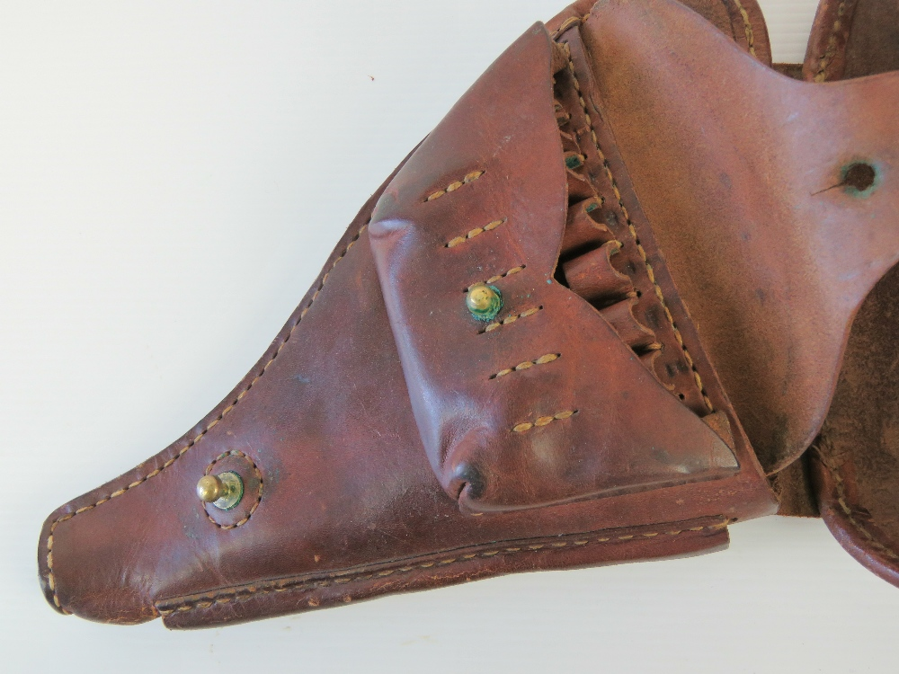 Lot 11 - A WWII Japanese Military Officers Nambu Type 14 brown leather pistol holster.