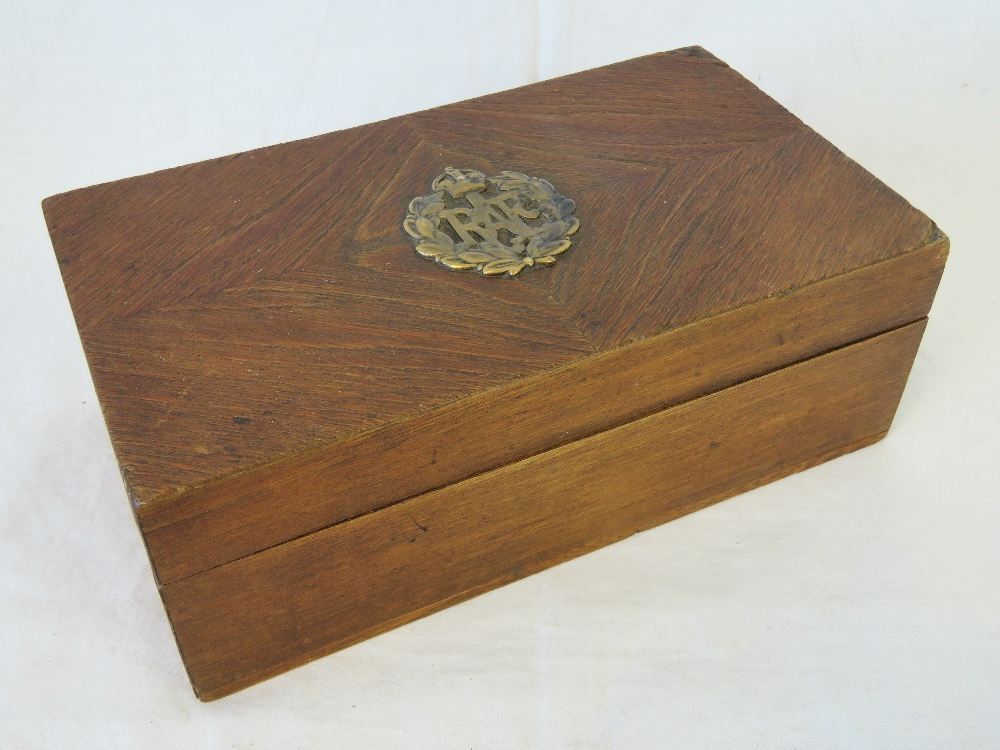 Lot 4 - A Wooden cigar box made by Fortnum E Mason London, having brass RAF insignia to lid, 18 x 10 x 6.