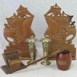 Lot 262 - HMS Iron Duke; a pair of bookends in the form of ships, a desk tidy,