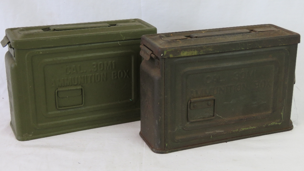 Lot 29 - A pair of US WWII .30 Calibre ammunition belt canisters for the US M3 Browning machine gun.