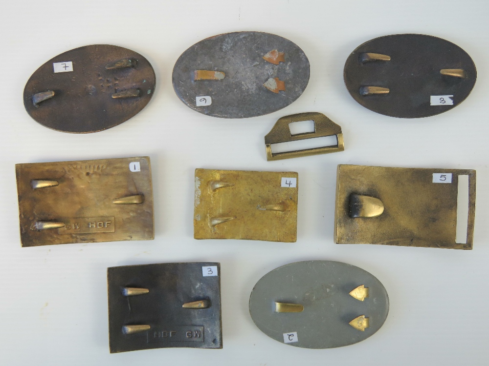 Lot 20 - Eight reproduction American Civil War brass belt buckles including Texas Union and Virginia Militia.