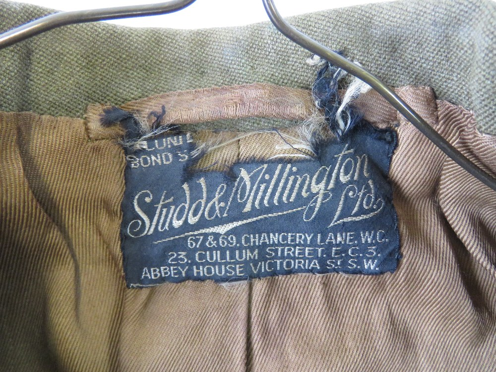 Lot 46 - A WWII Royal Artillery Officers tunic with Studd & Millington of London Outfitters label,