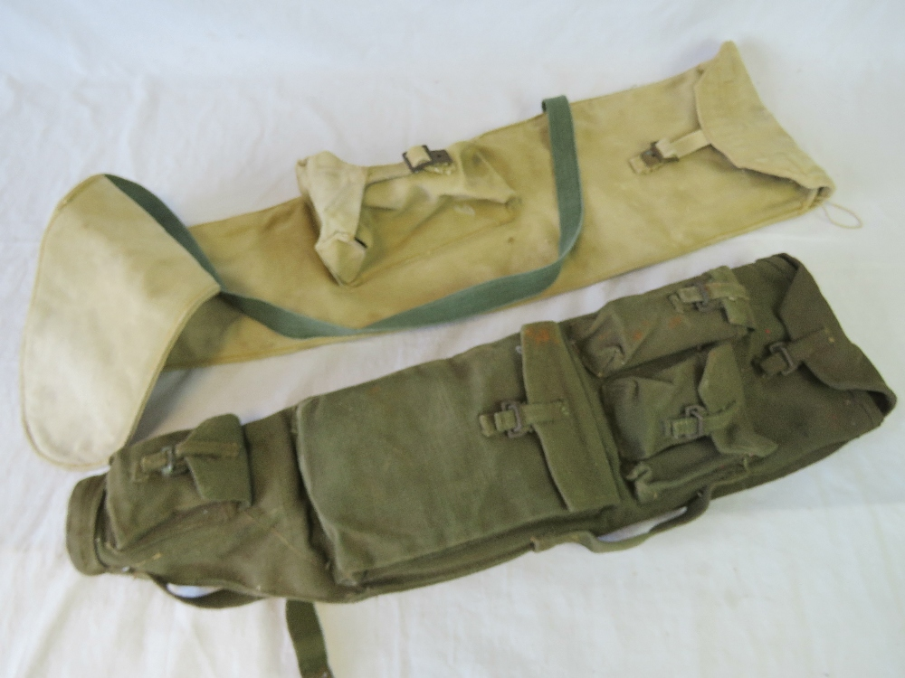Lot 37 - A WWII British Bren Light Machine Gunners spare barrel and accessories bag 1944 dated with original