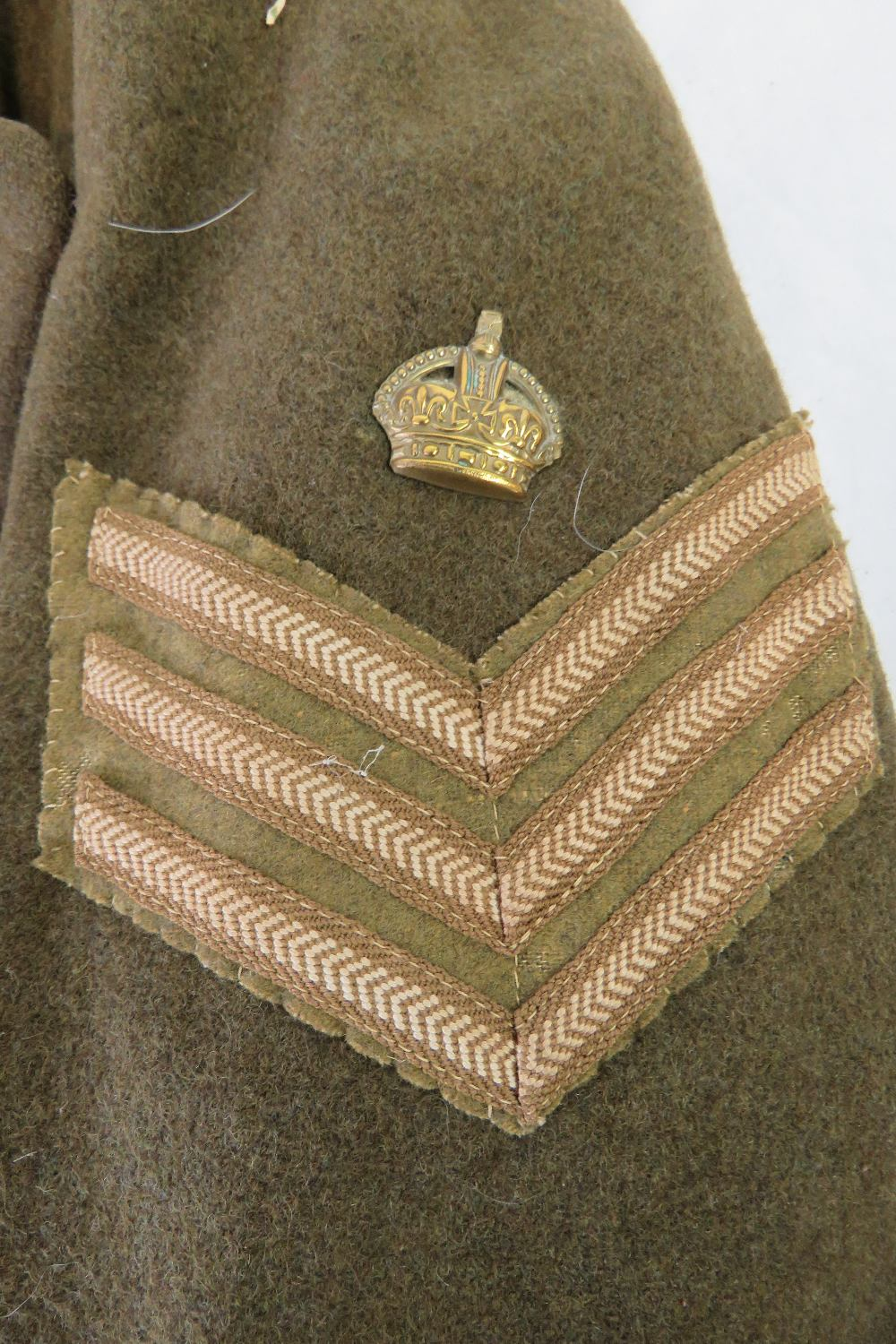 Lot 60 - A WWII British Military Staff Sergeant over coat, Royal Electrical and Mechanical Engineers issue.