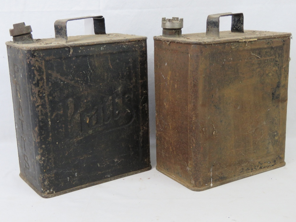 Lot 52 - Two vintage metal petrol containers; one embossed Pratts,
