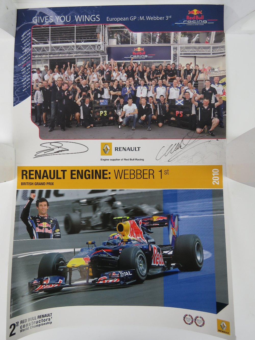 Lot 16 - Two Red Bull racing posters, one signed