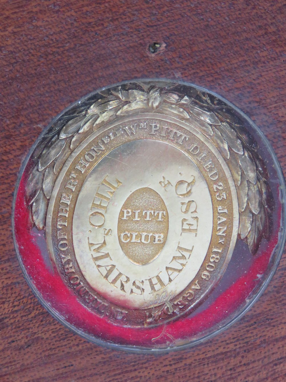 Lot 430 - A silver gilt oval Pitt Club badge,